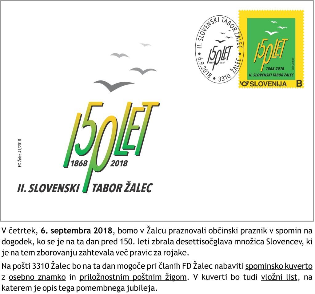 kuverta zig osebna znamka II tabor Zalec 2018