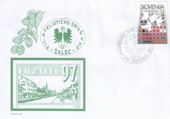 Druga društvena kuverta ob otvoritvi nove poštne stavbe v Žalcu.